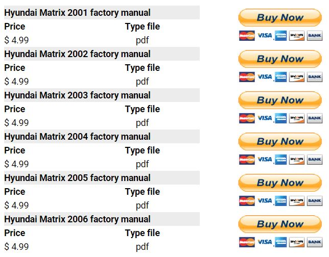 hyundai matrix 2001 2006 repair manual factory manual rh factory manuals com 2015 Hyundai Car Repair Manual Hyundai Santa Fe Repair Manual