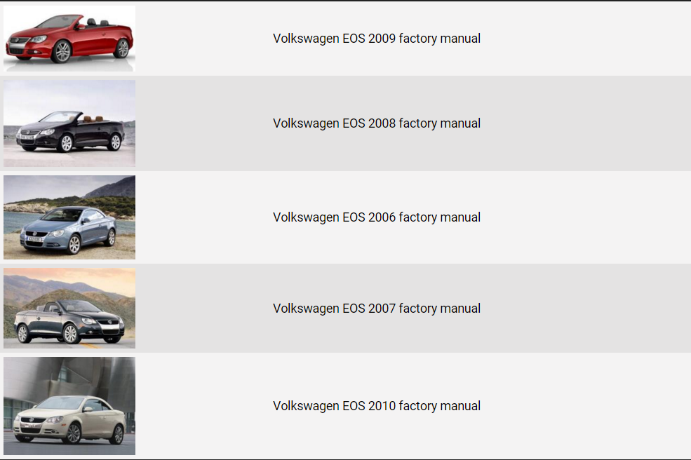 volkswagen eos 2006 2010 repair manual factory manual volkswagen eos 2006 2007 2008 2009 2010 factory repair manual