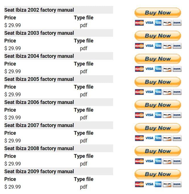 Seat Ibiza PDF Workshop Repair Manuals on YouFixCars.com
