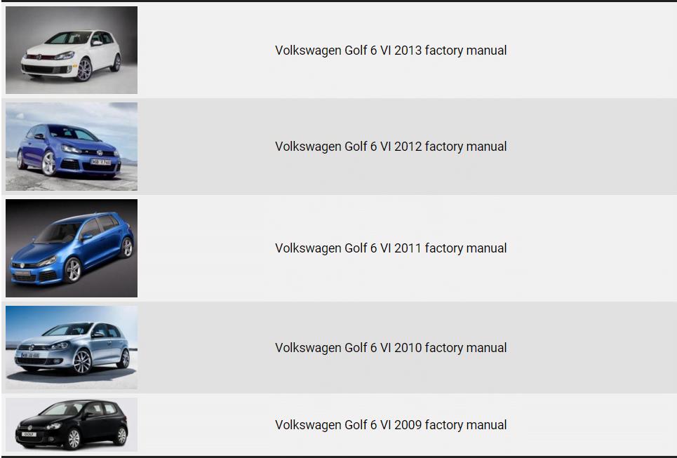 volkswagen golf 6 vi 2009 2013 repair manual factory manual rh factory manuals com VW Routan Service Manuals VW Kombi
