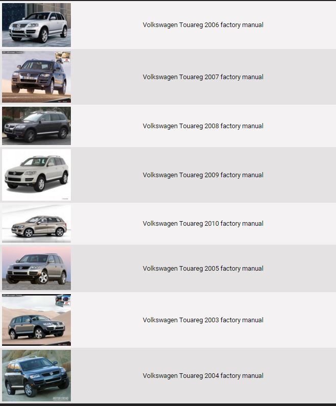 Volkswagen Touareg 2003-2010 Repair Manual