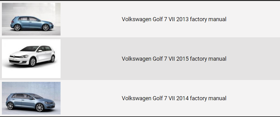 Volkswagen Golf 7 20132016 repair manual   Factory Manual