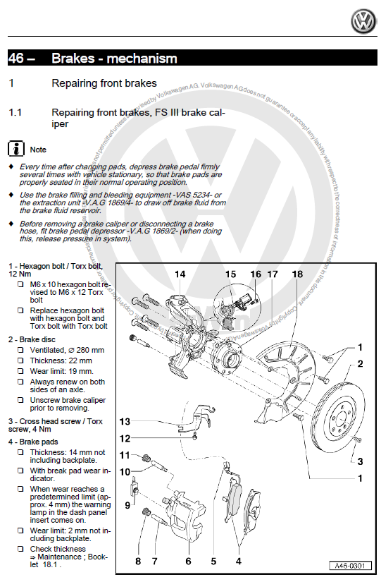 Repair brakes page sample volkswagen caddy 1996 2003 factory repair manual Electrical Wiring Diagrams at aneh.co