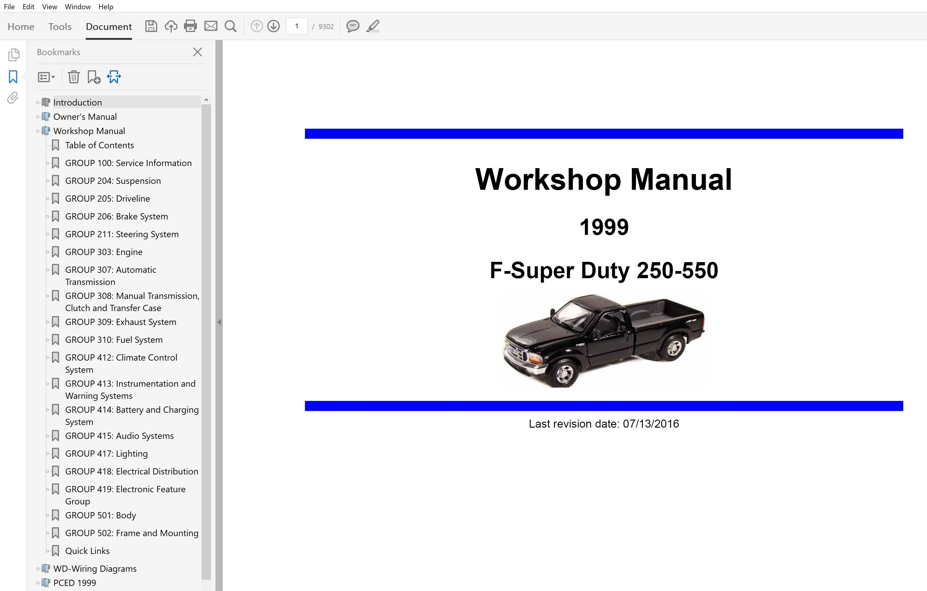 1999 Ford F250 F350 F450 F550 Repair Manual