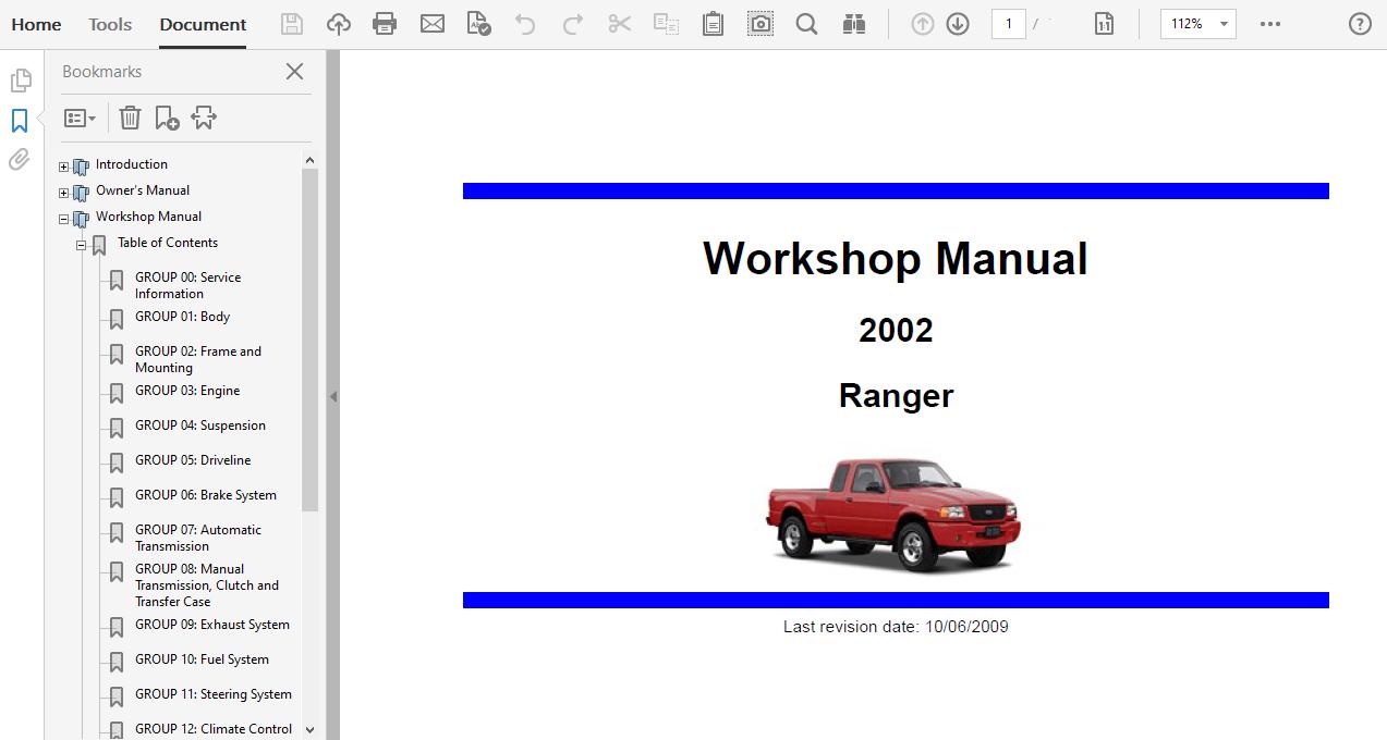2002 Ford Ranger Repair Manual