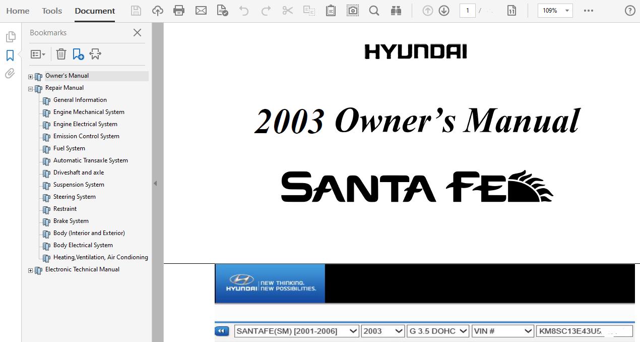 2003 Hyundai Santa Fe Repair Manual