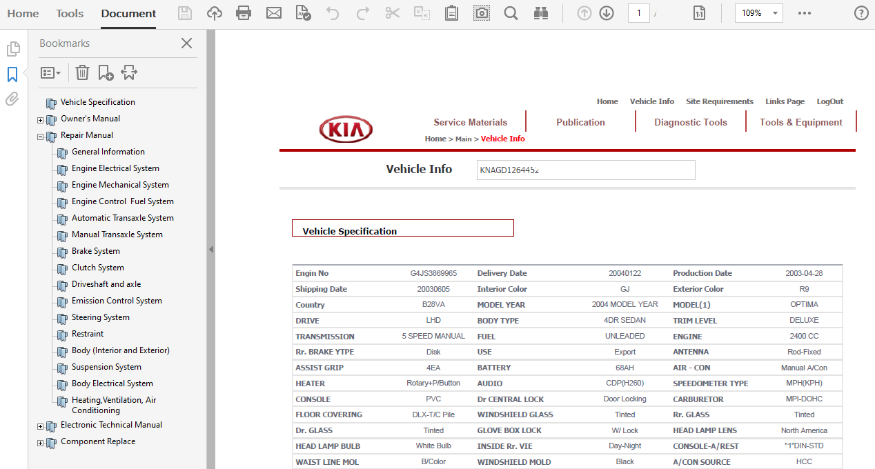 2004 Kia Optima Repair Manual