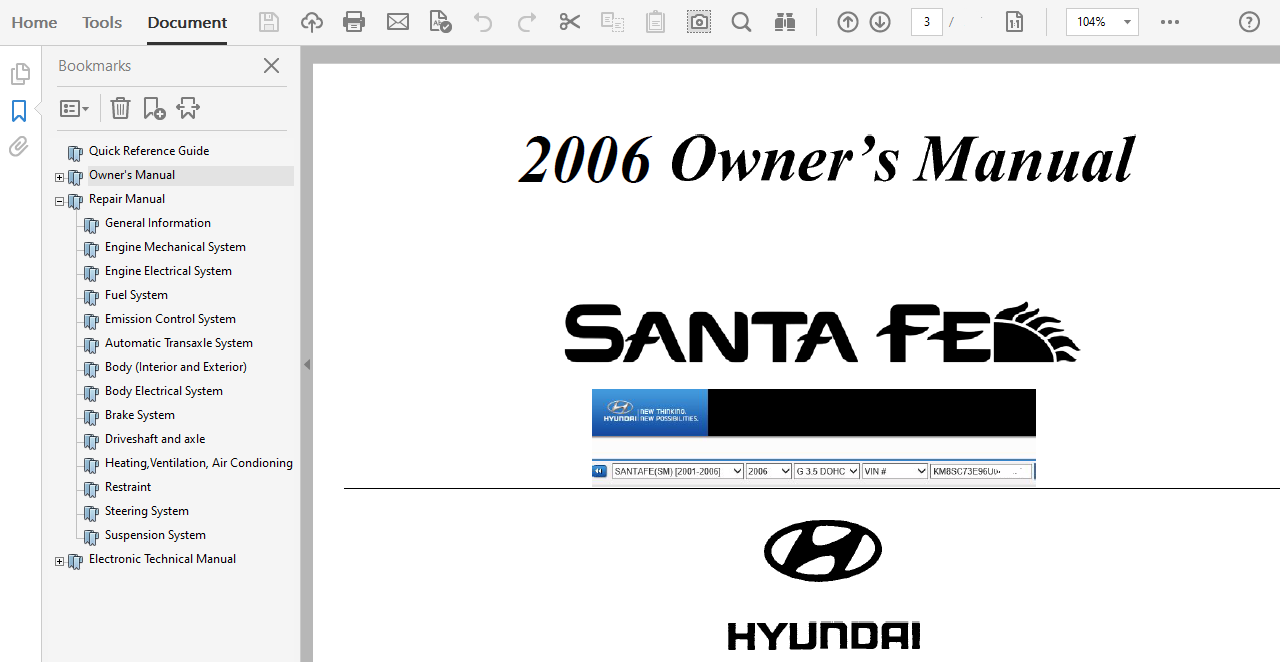 2006 Hyundai Santa Fe Repair Manual