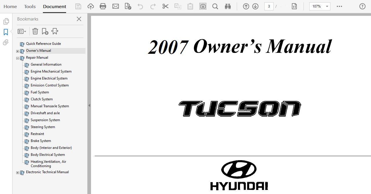 2007 Hyundai Tucson Repair Manual