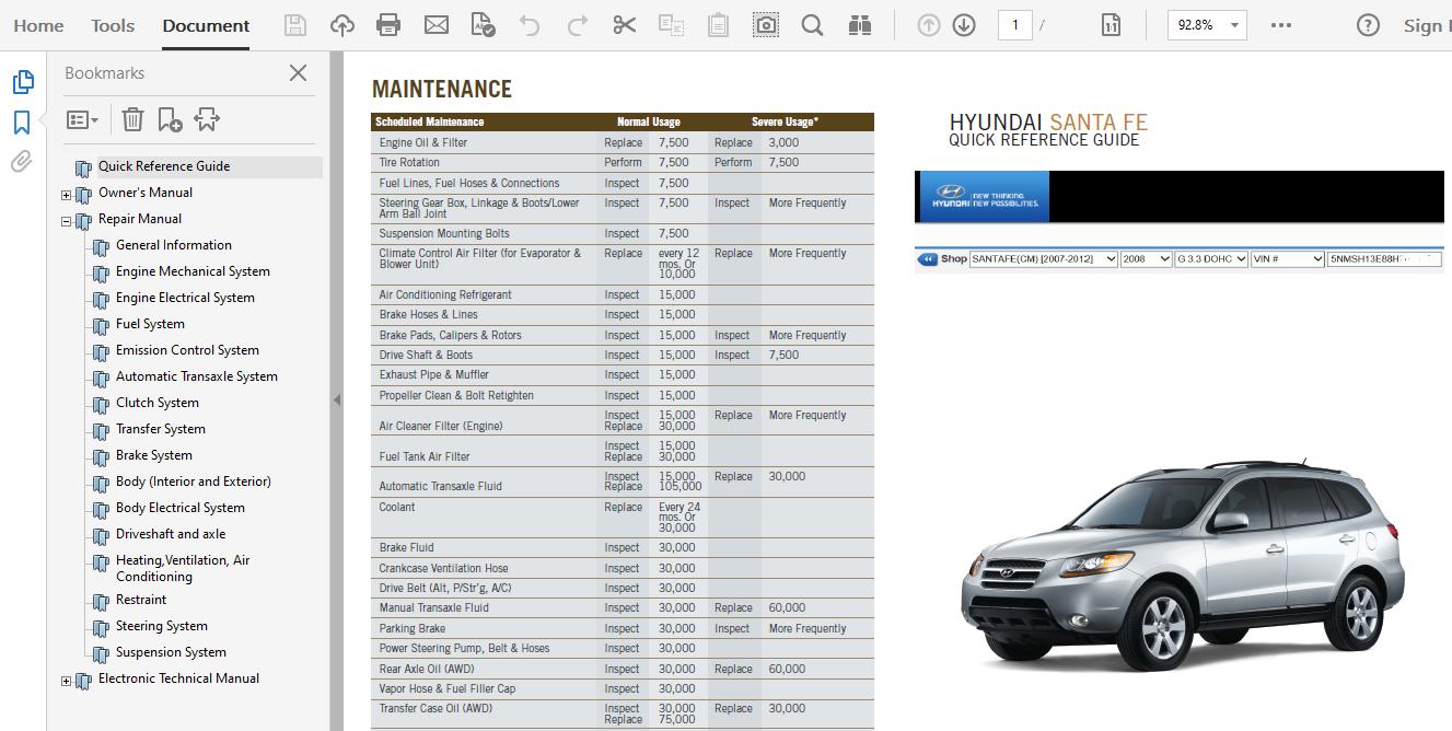 2008 Hyundai Santa Fe Repair Manual
