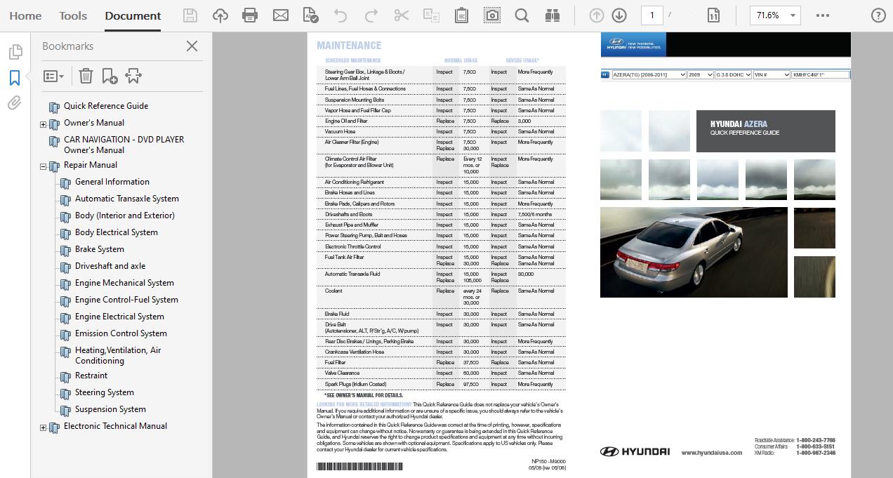 2009 Hyundai Azera Repair Manual