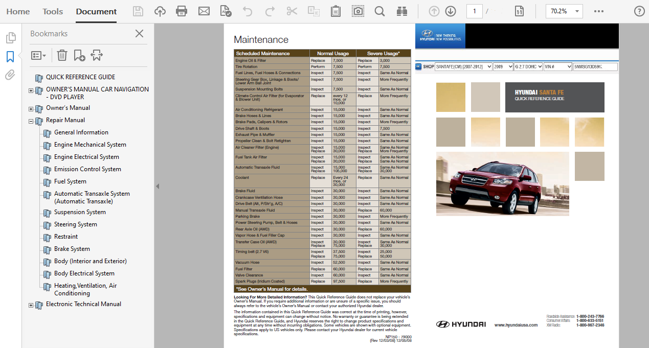 2009 Hyundai Santa Fe Repair Manual