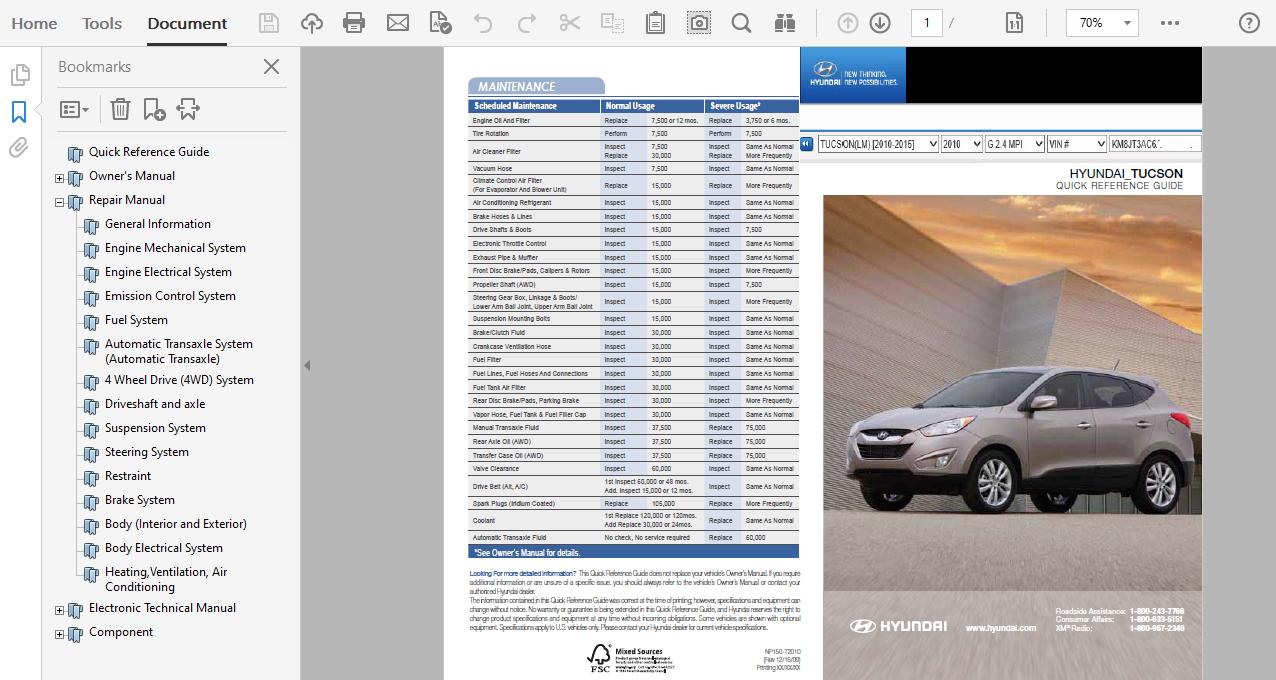 2010 Hyundai Tucson Repair Manual