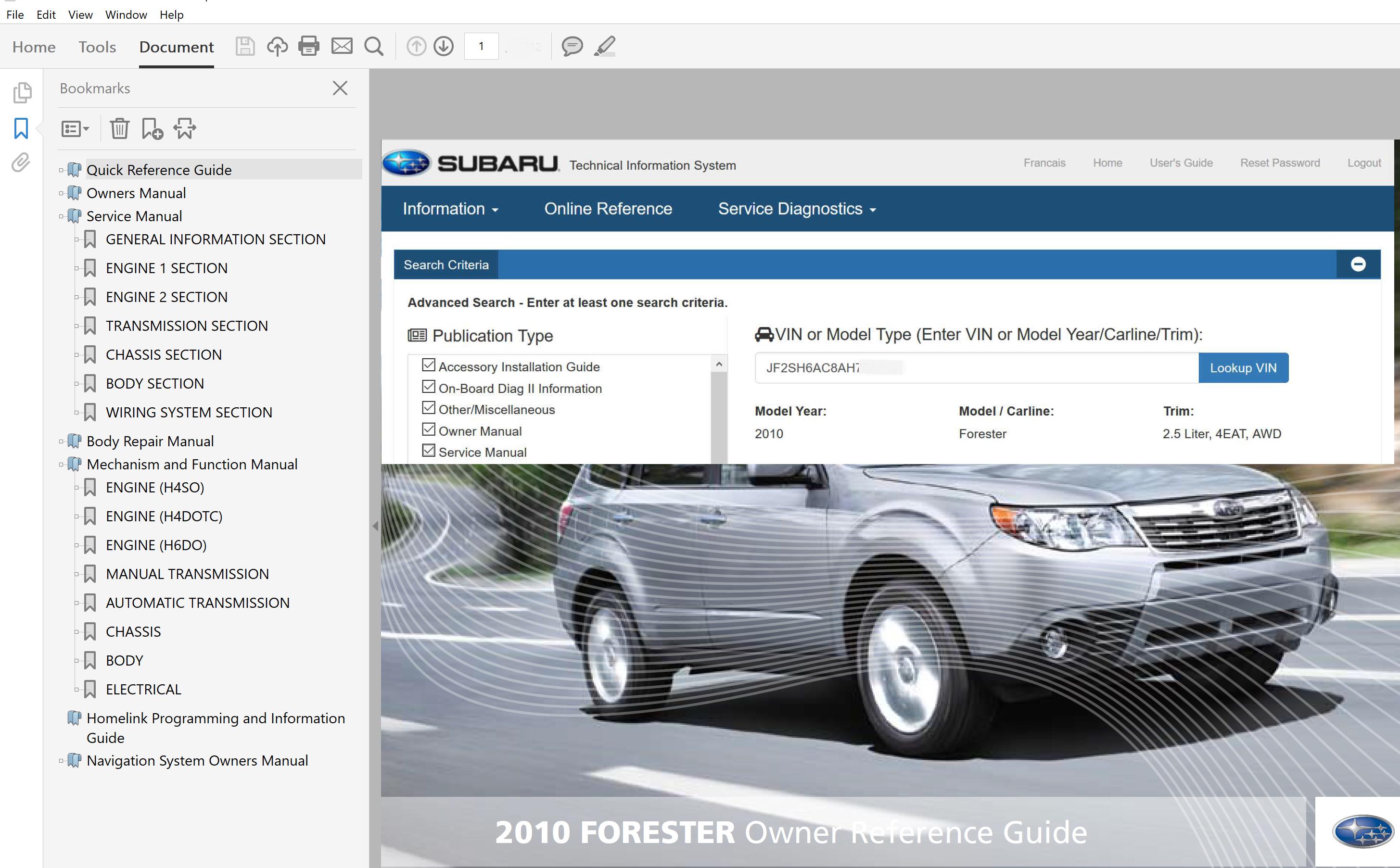 2010 Subaru Forester Repair Manual