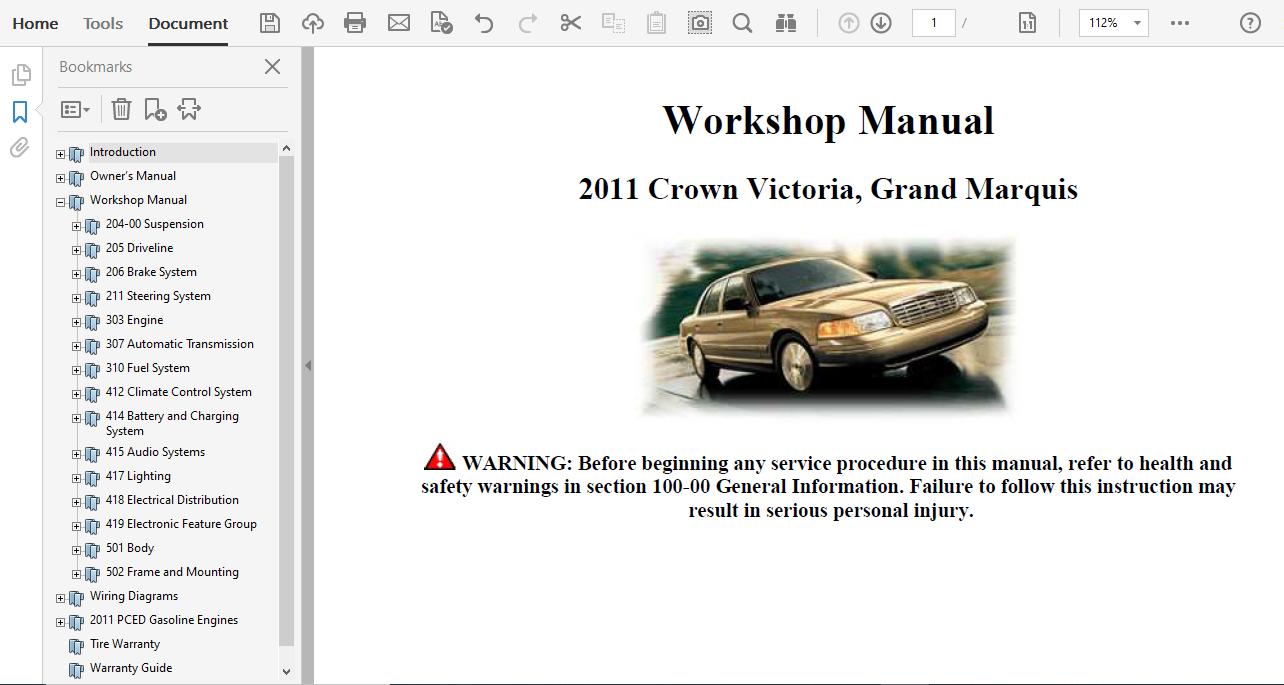 2011 Ford Crown Victoria Repair Manual
