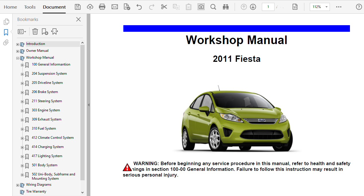 2011 Ford Fiesta Repair Manual