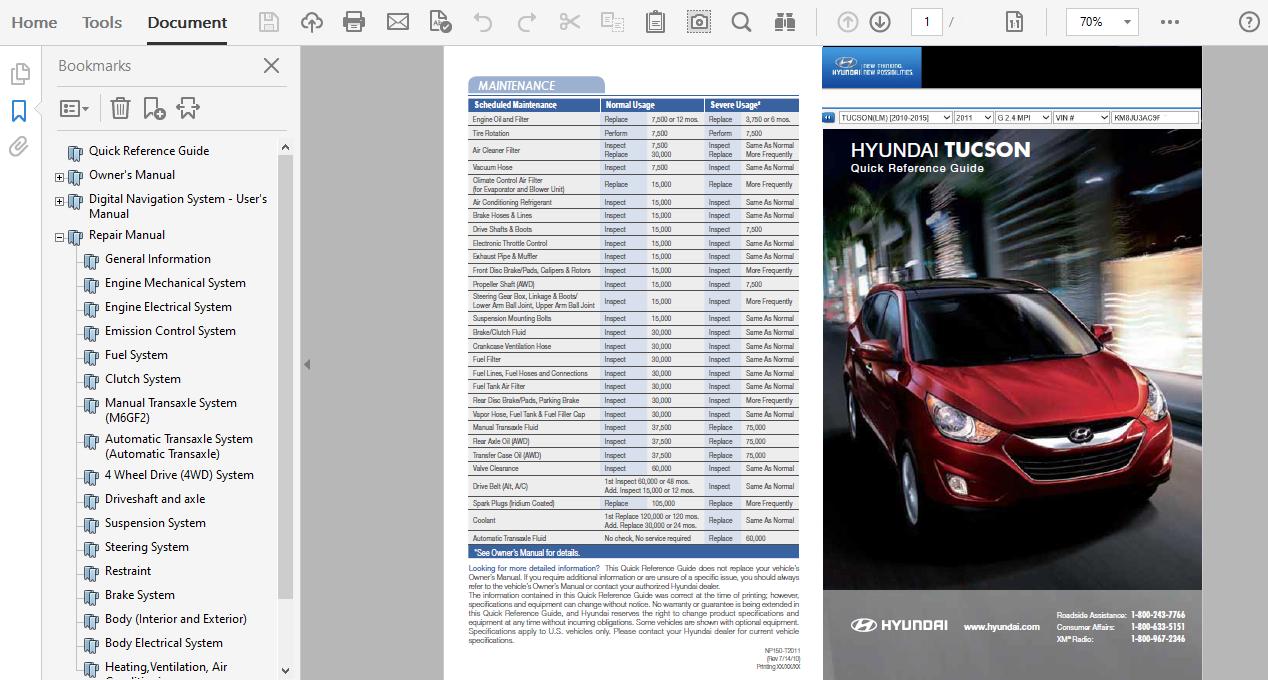 2011 Hyundai Tucson Repair Manual