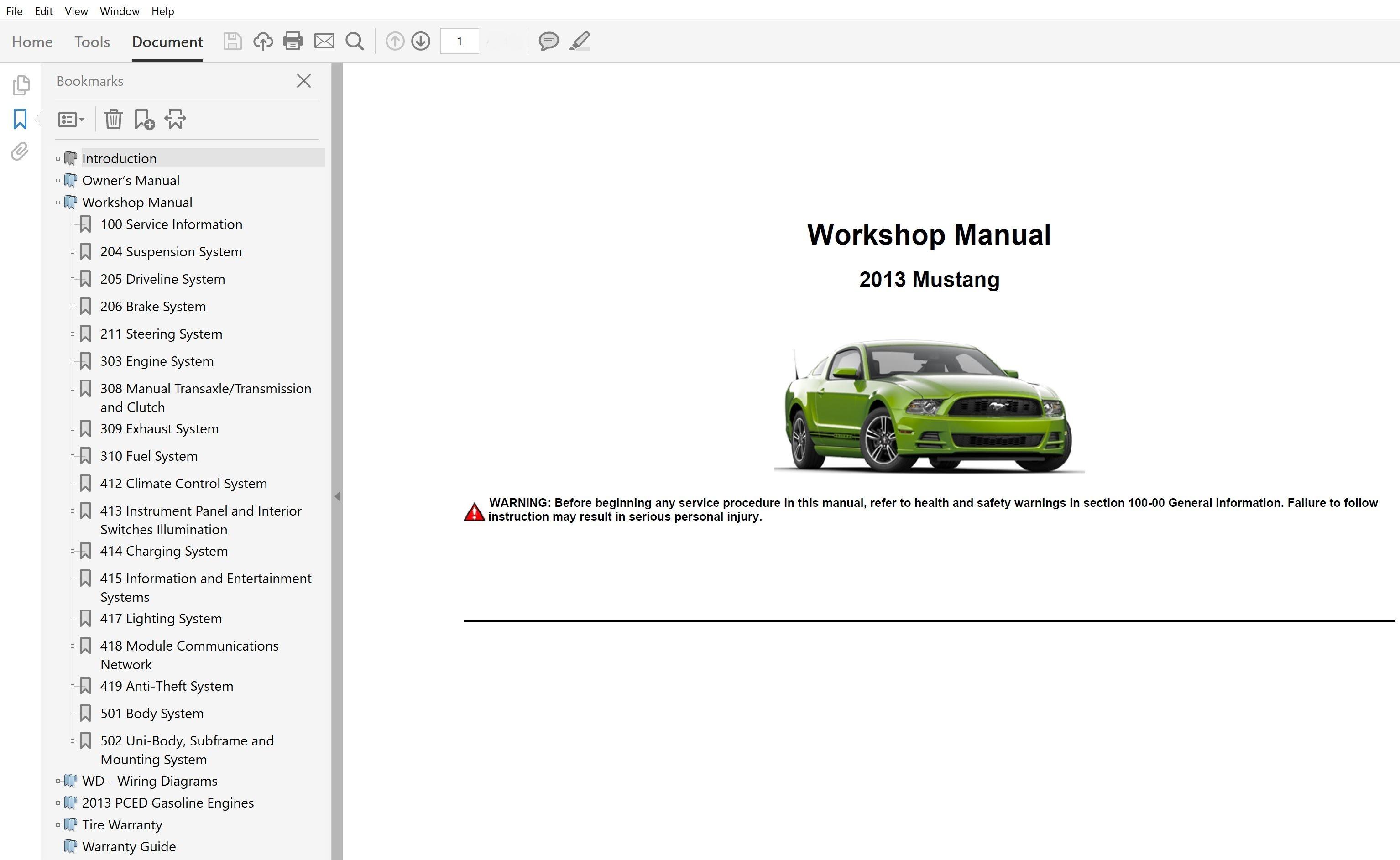 2013 Ford Mustang Repair Manual