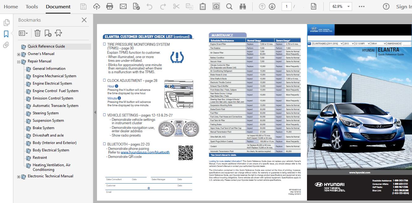 2013 Hyundai Elantra Repair Manual