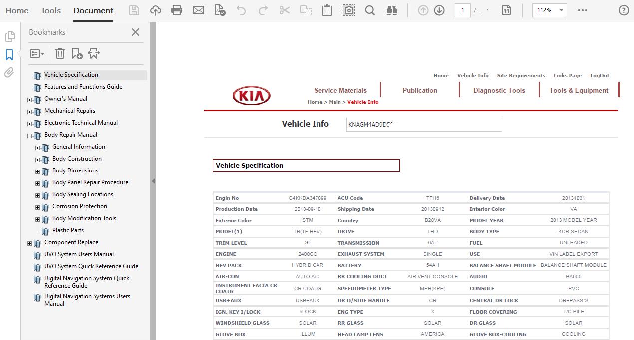 2013 Kia Optima Hybrid Repair Manual