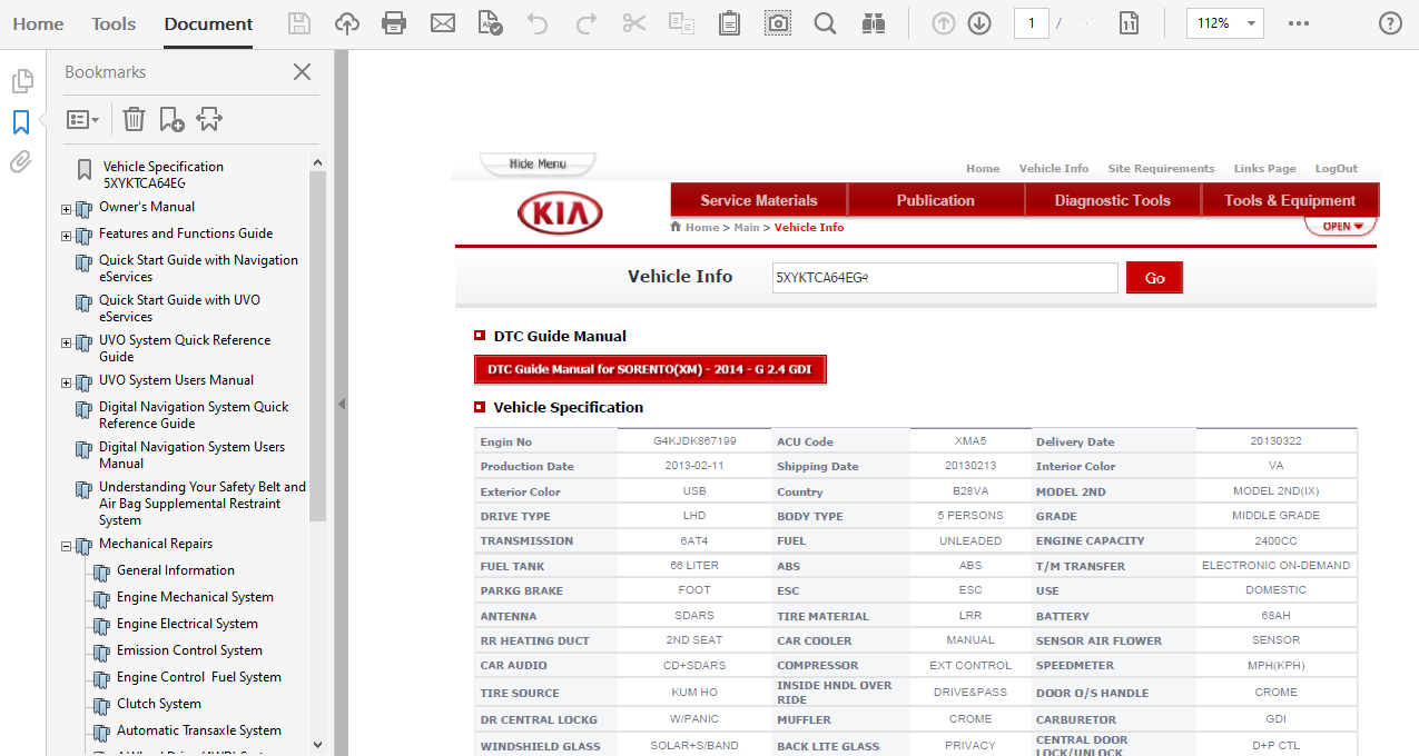 2014 Kia Sorento Repair Manual