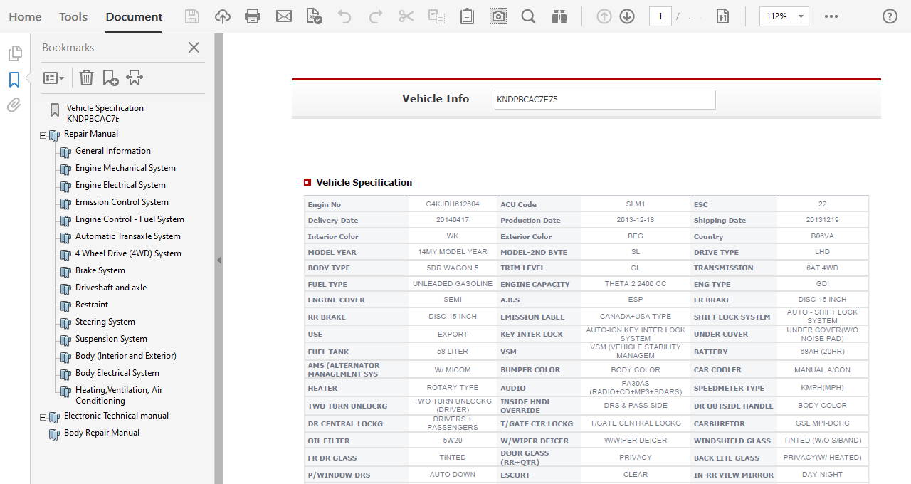 2014 Kia Sportage Repair Manual