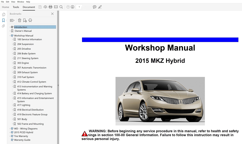 2015 lincoln mkz hybrid repair manual  factory manuals