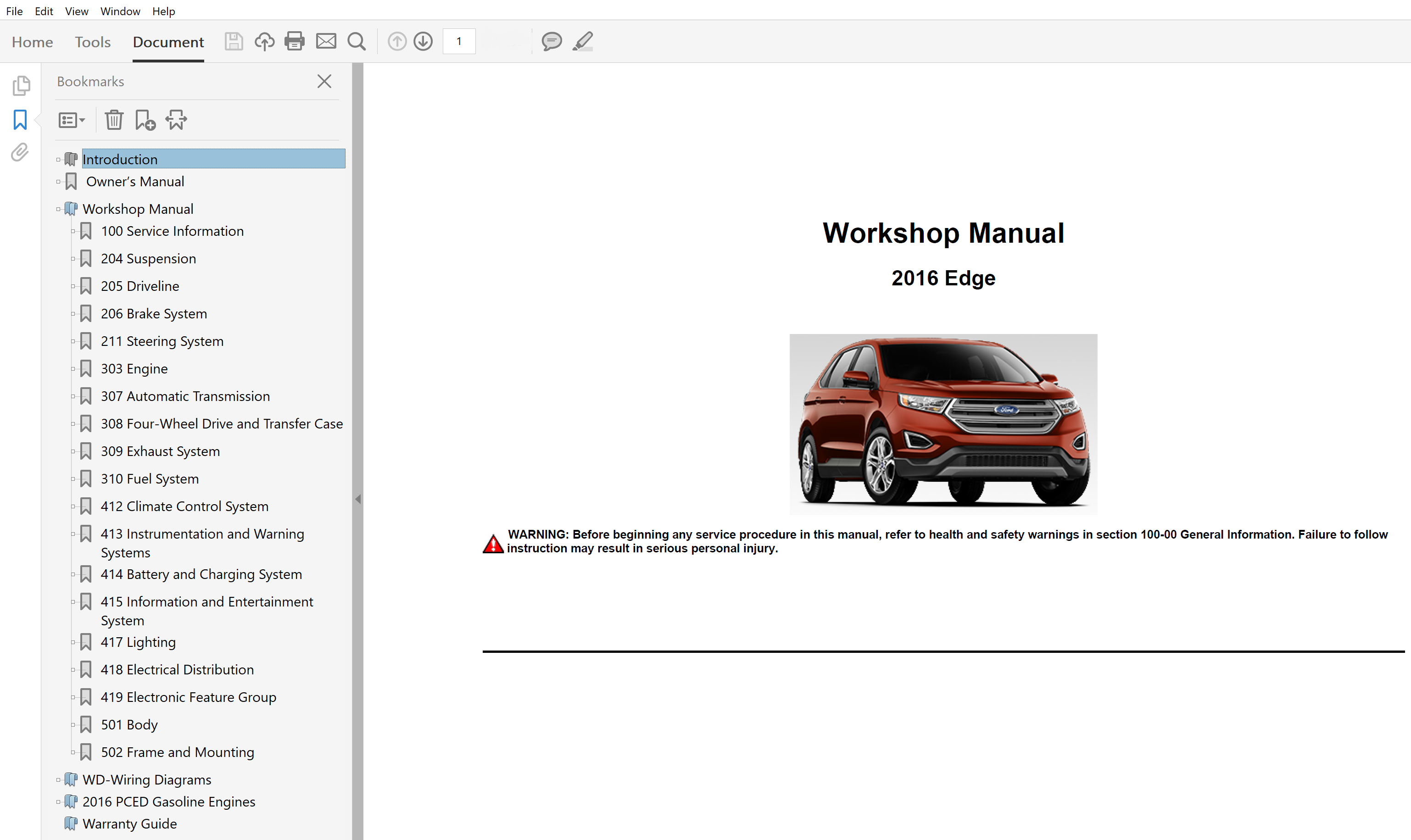 2016 Ford Edge Repair Manual