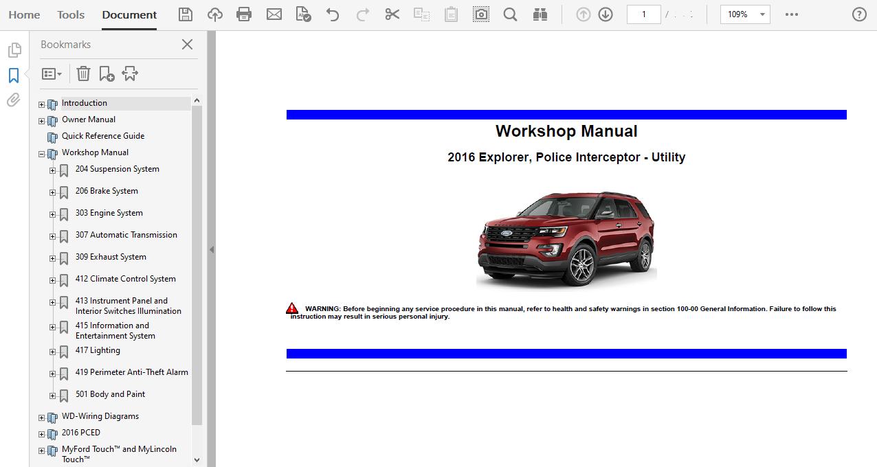 2016 Ford Explorer Repair Manual
