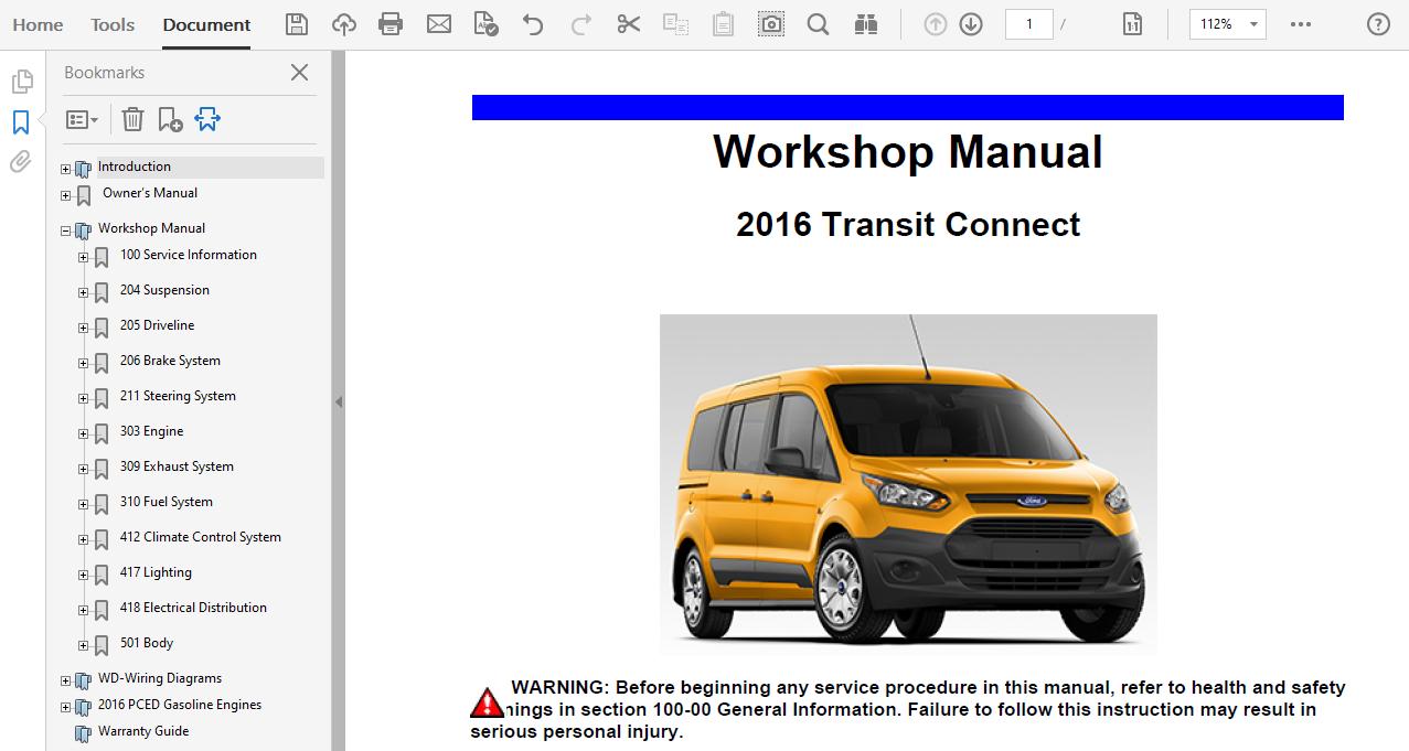 2016 Ford Transit Connect Repair Manual