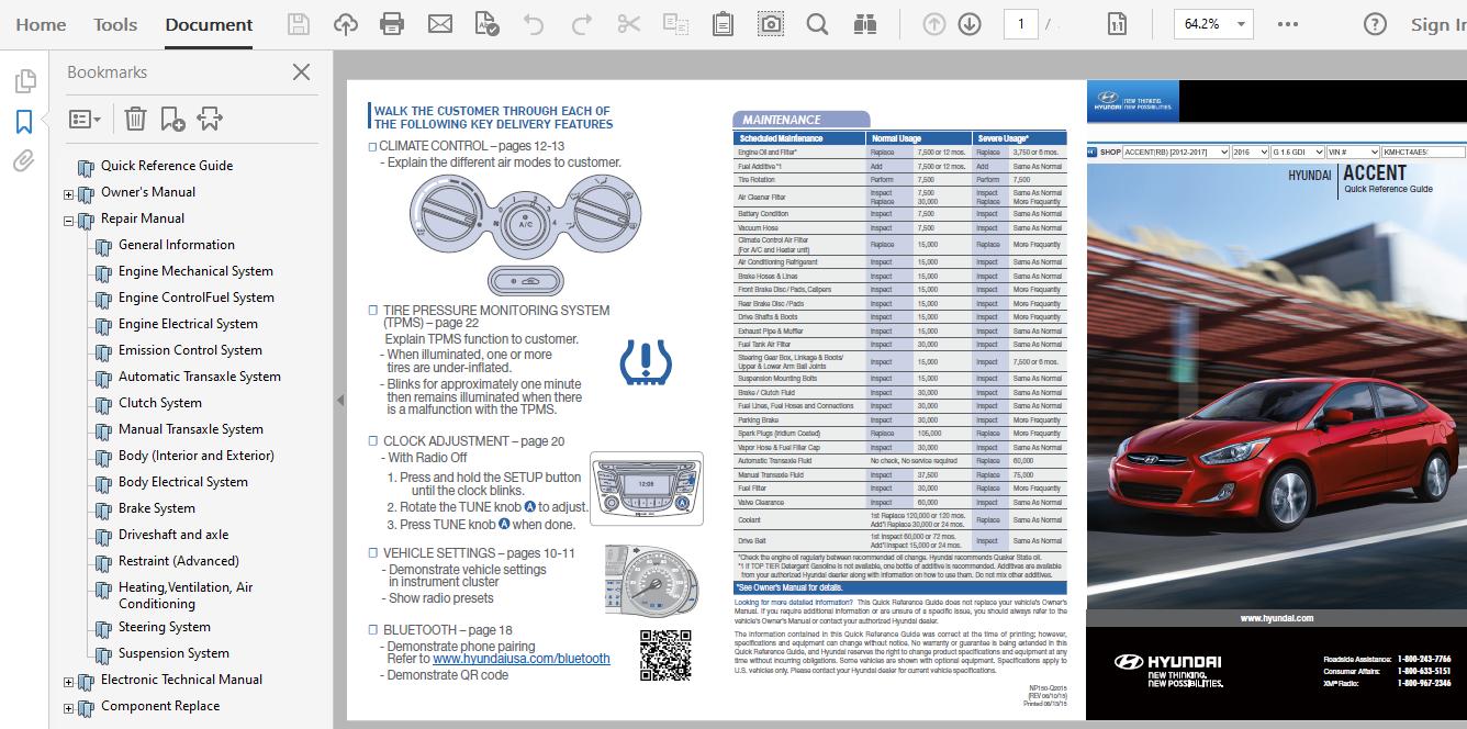 2016 Hyundai Accent Repair Manual
