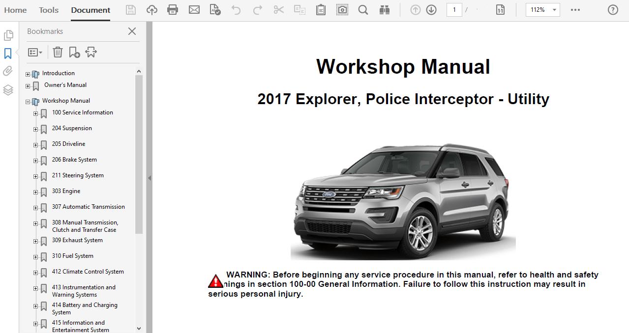 2017 Ford Explorer Repair Manual