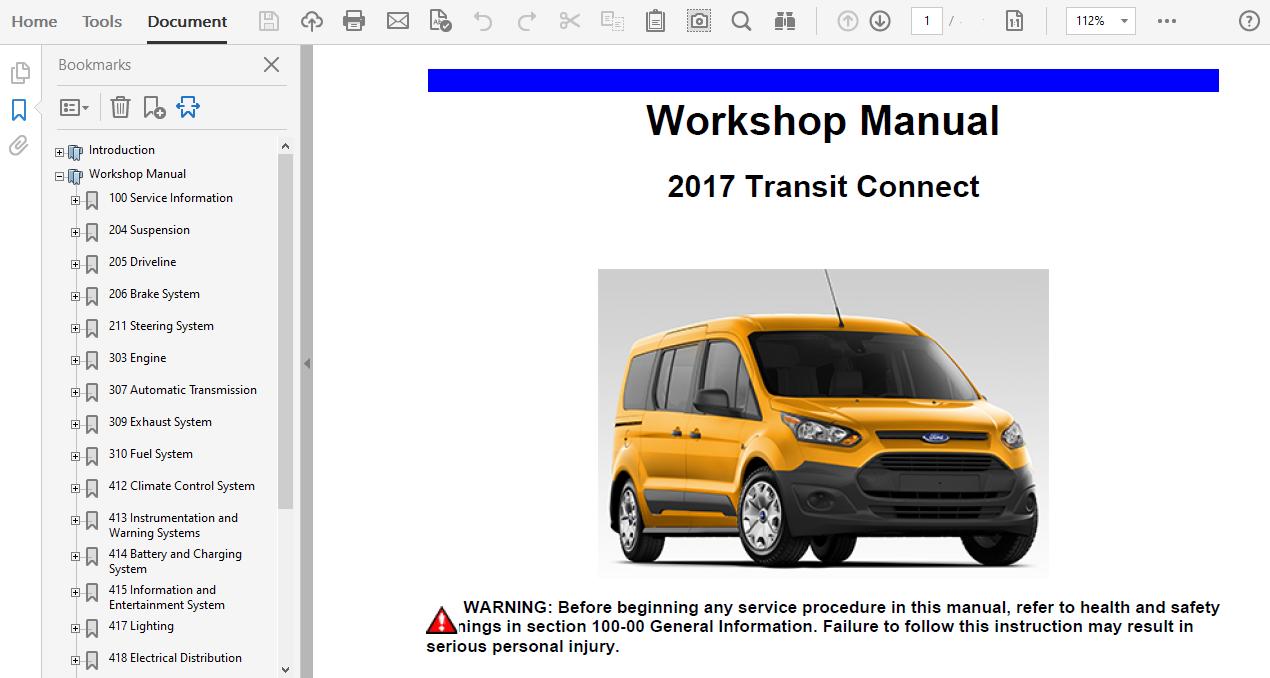 2017 Ford Transit Connect Repair Manual