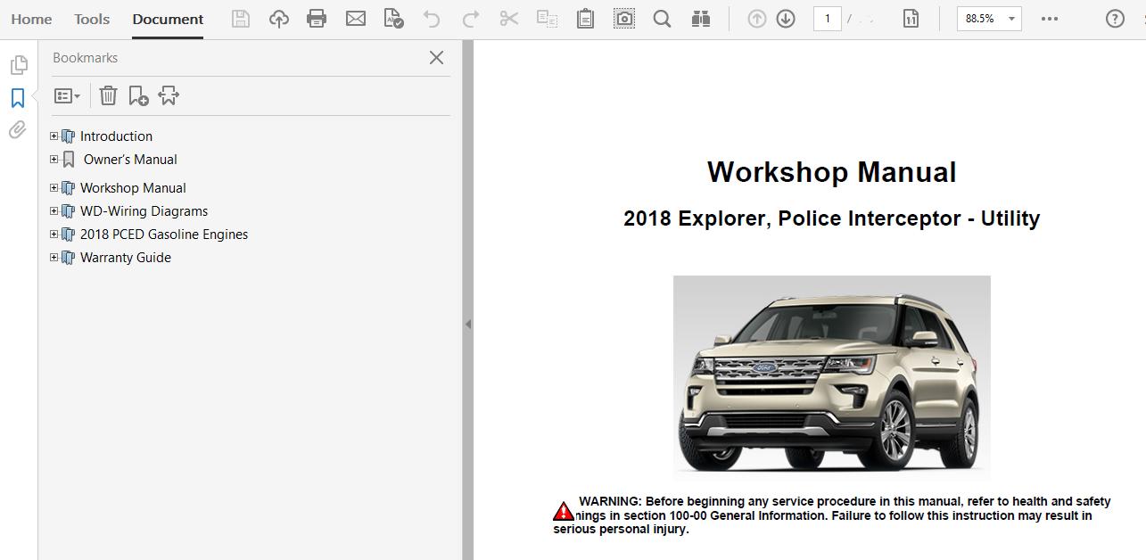 2018 ford explorer repair manual  factory manuals