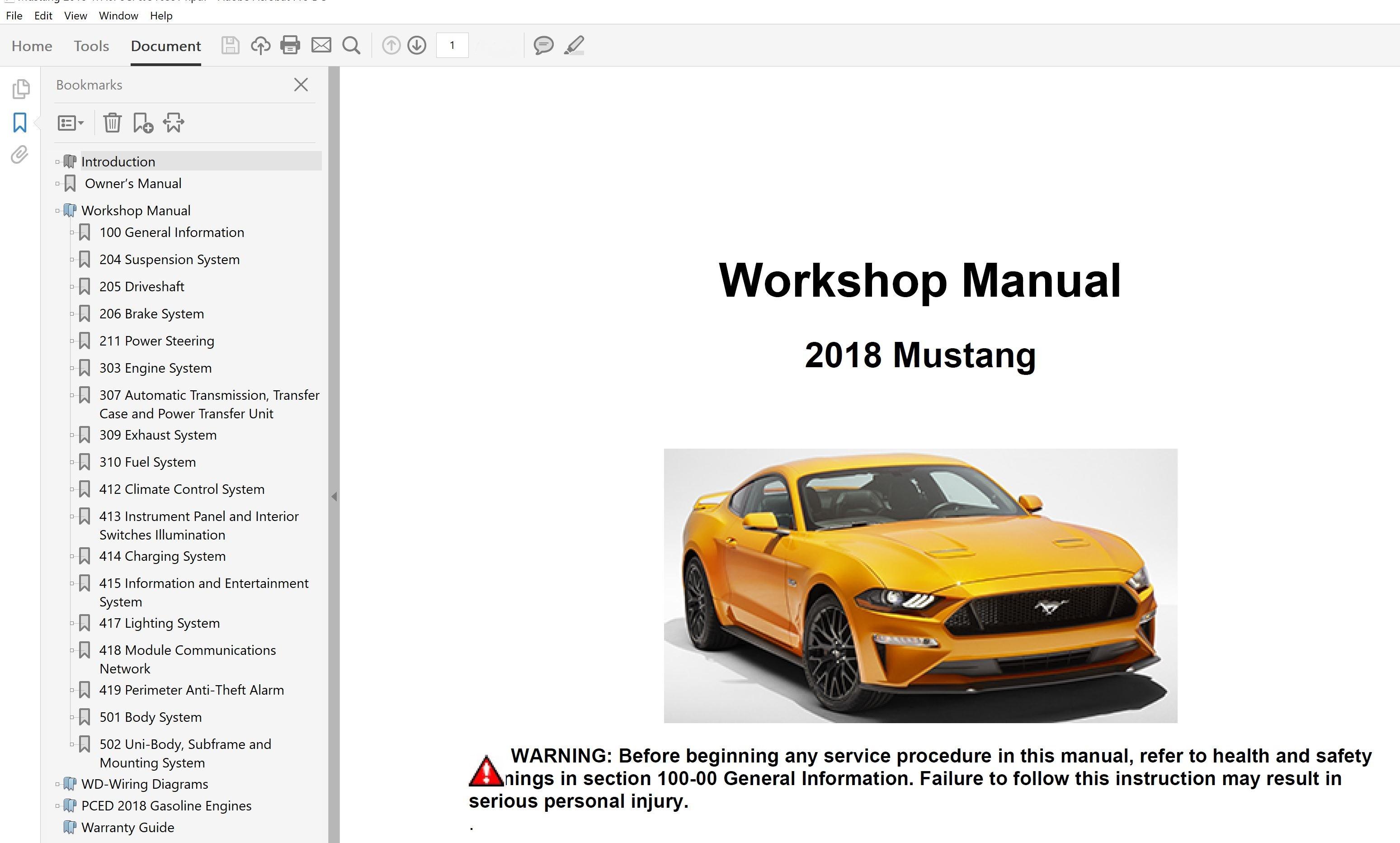 2018 Ford Mustang Repair Manual