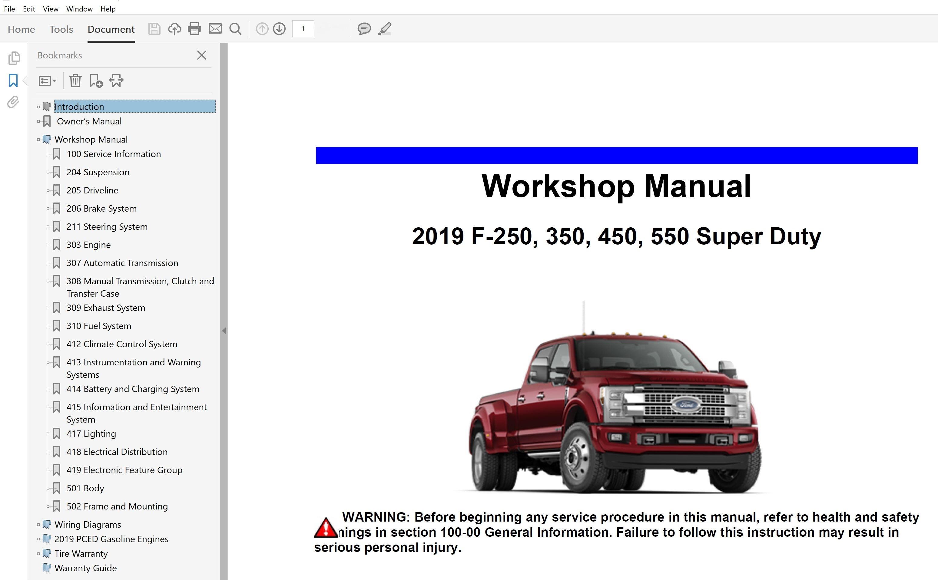 2019 Ford F250 F350 F450 F550 Repair Manual