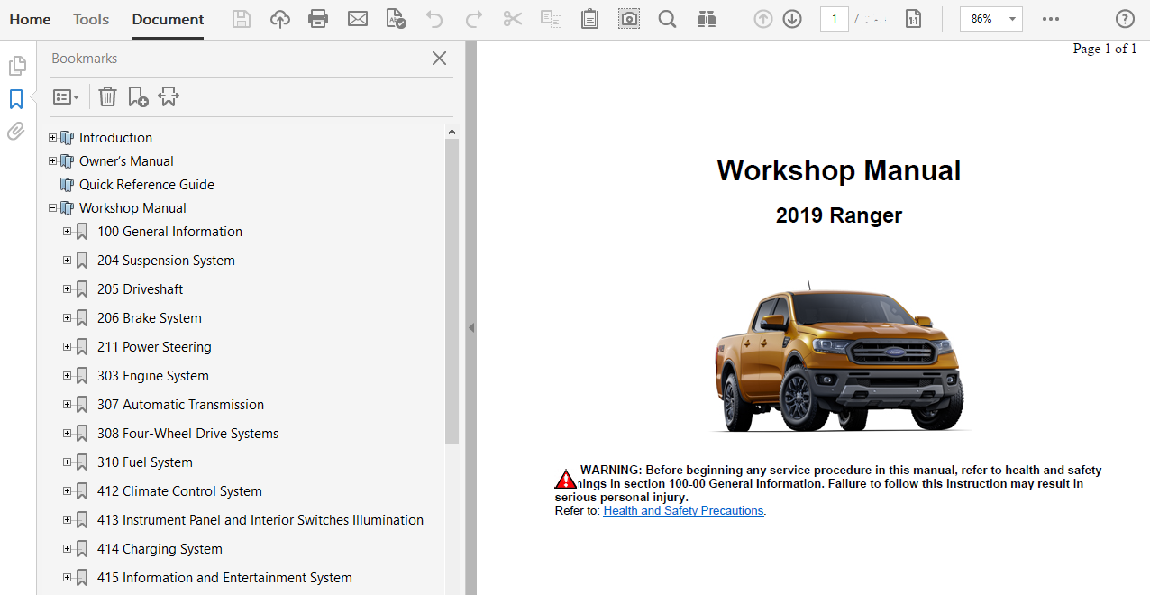Download 2019 Ford Ranger Oem Repair And Service Manual Manual Guide