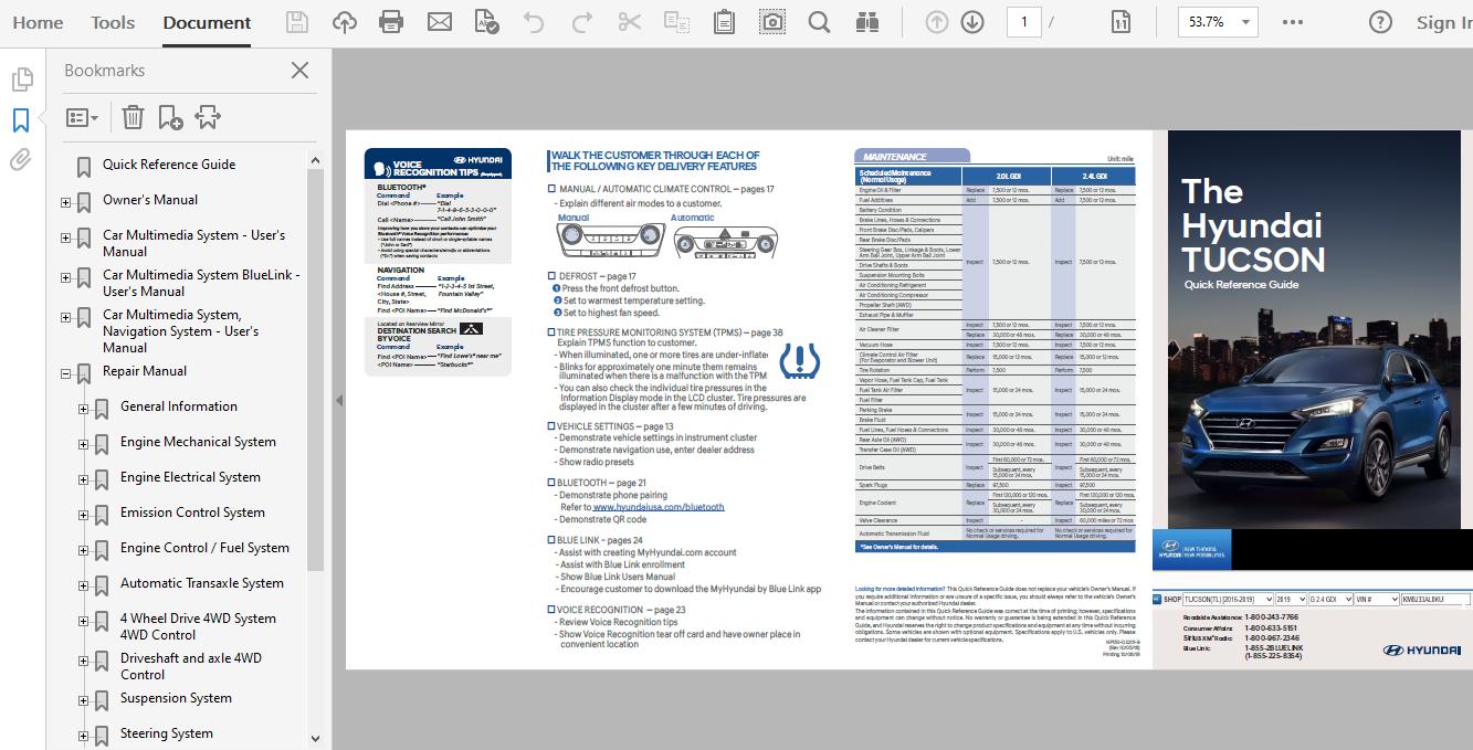 2019 Hyundai Tucson Repair Manual