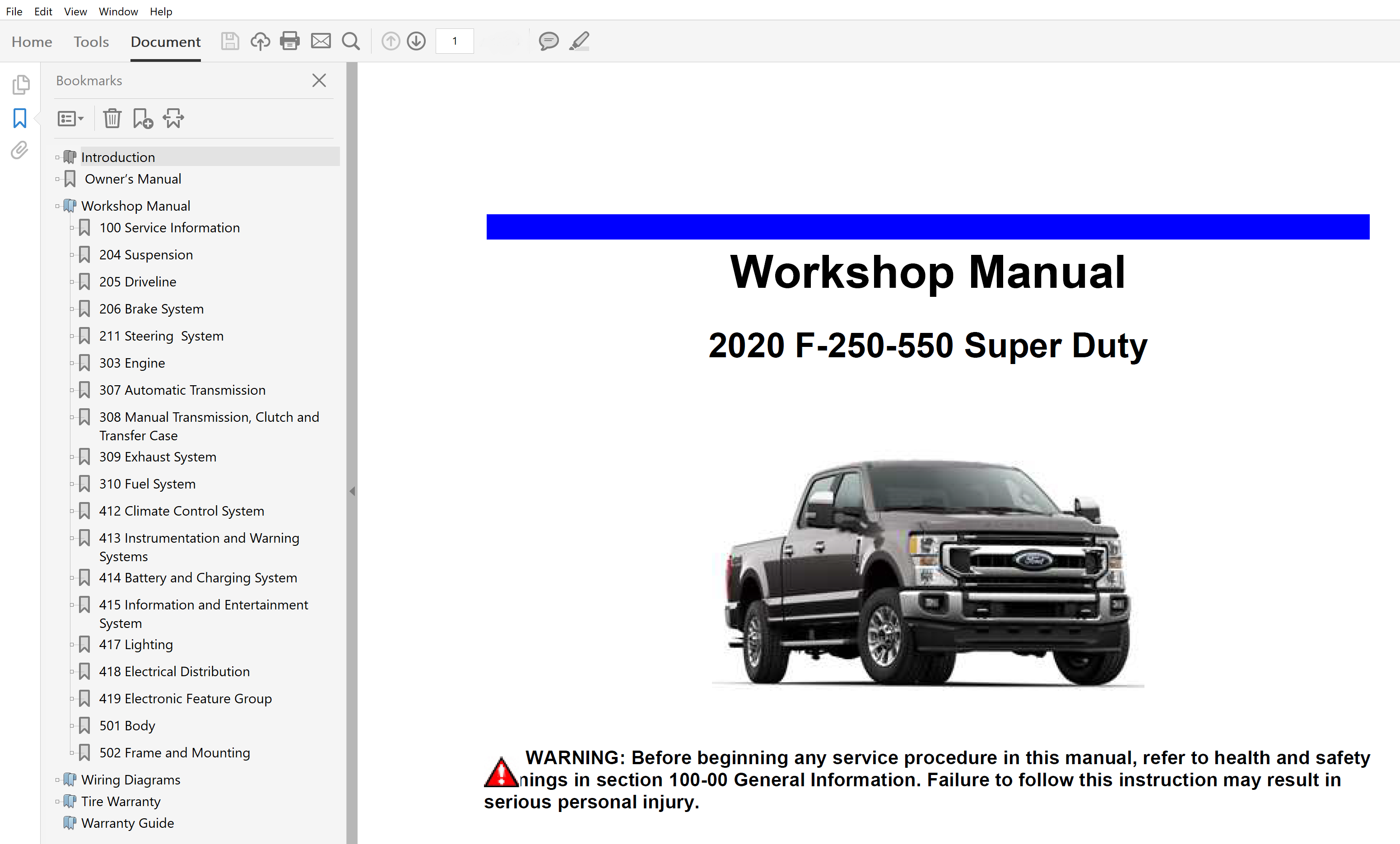 2020 Ford F250 F350 F450 F550 Repair Manual