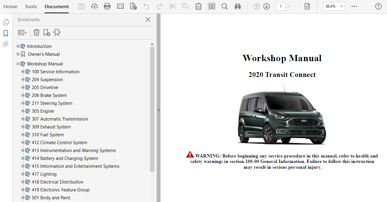 2020 Ford Transit Connect Repair Manual