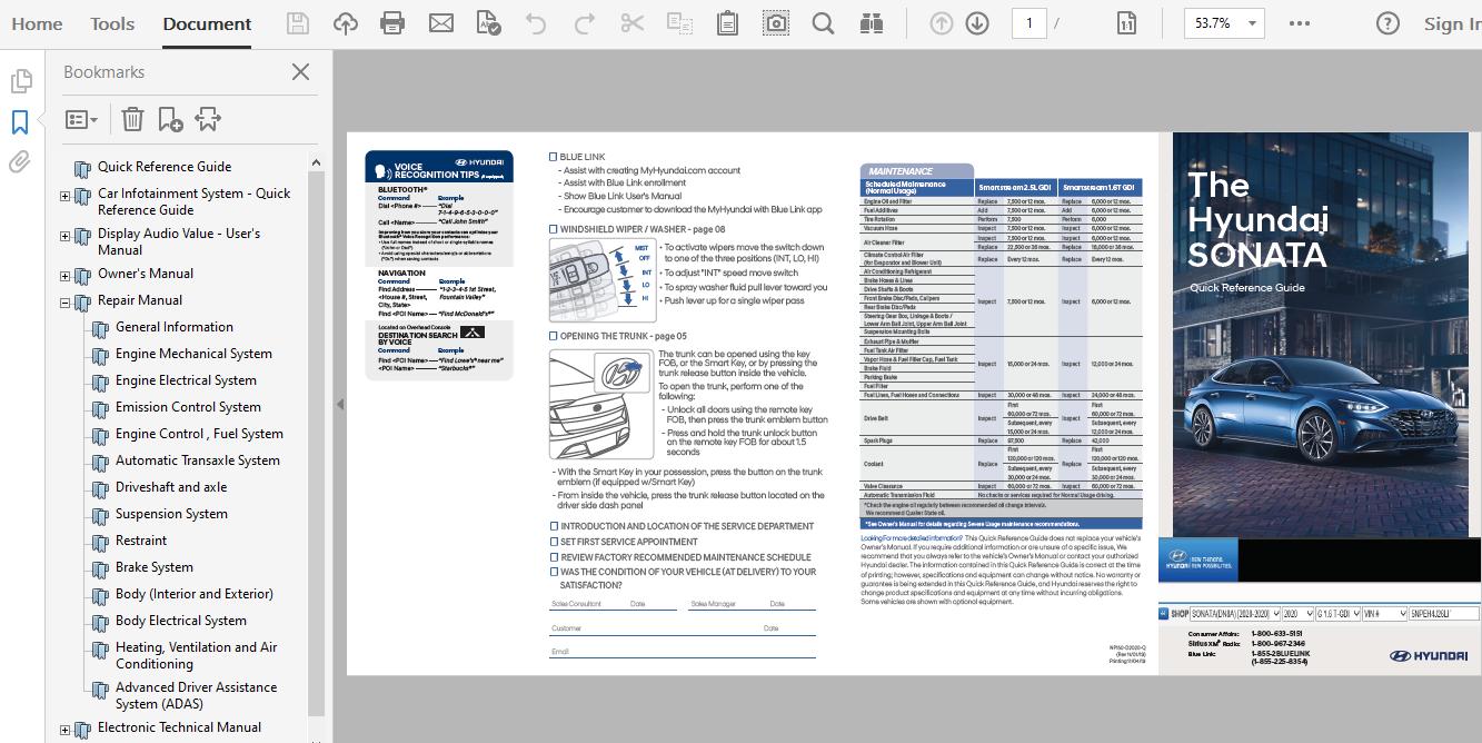 2020 Hyundai Sonata Repair Manual
