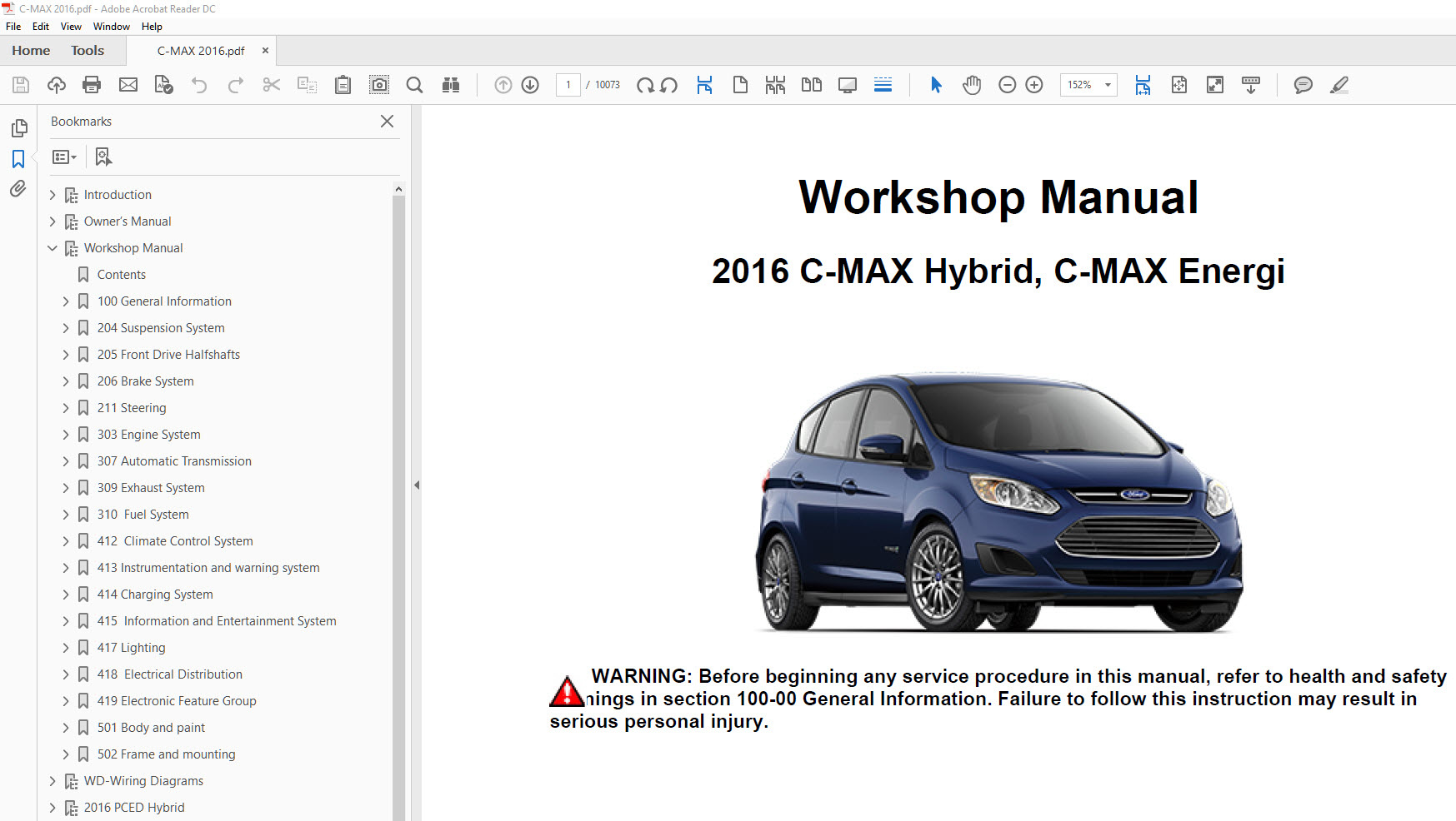 ford c max 2013 2018 factory repair manual