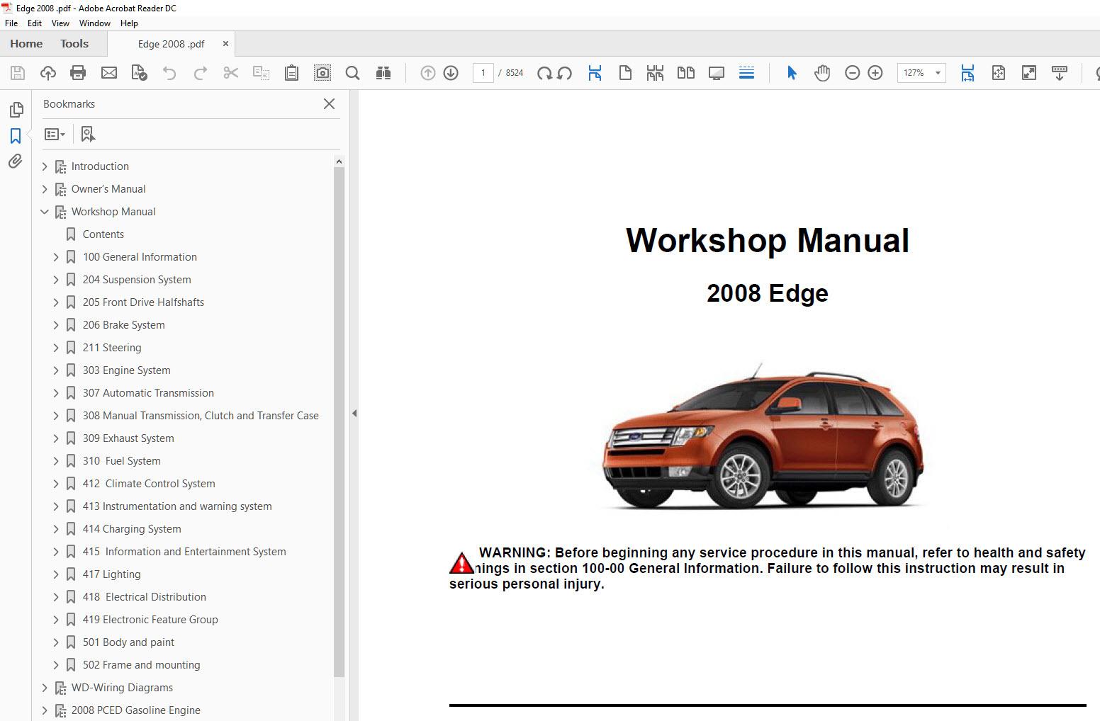 Ford       Edge    20062010 factory repair    manual