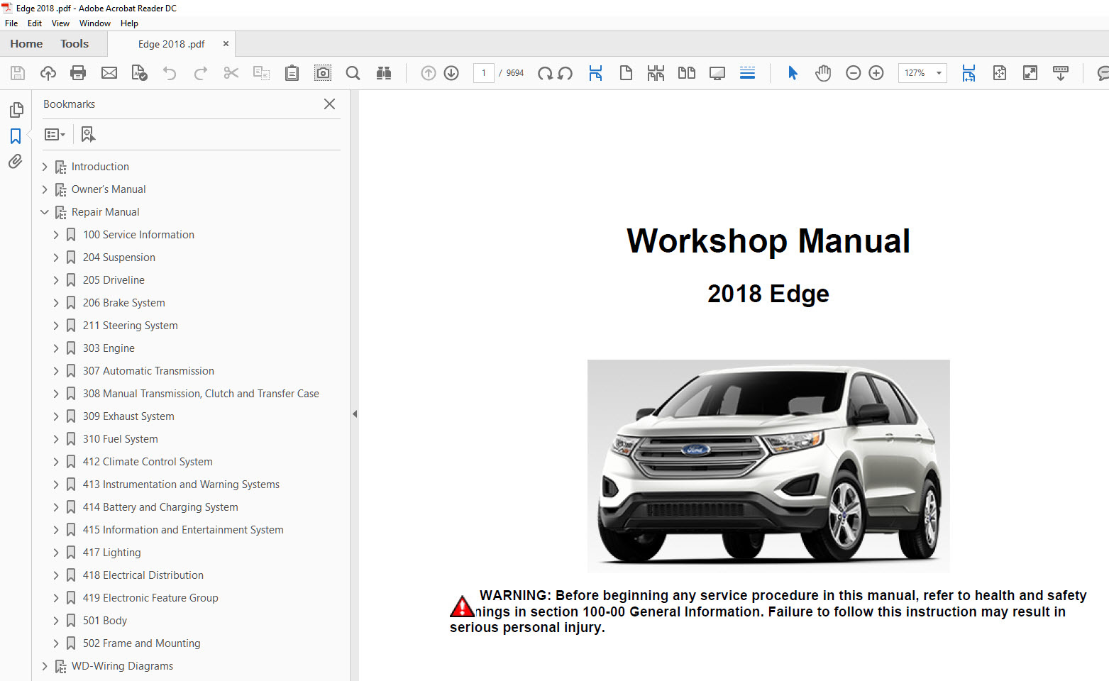 Ford Edge   Repair Manual