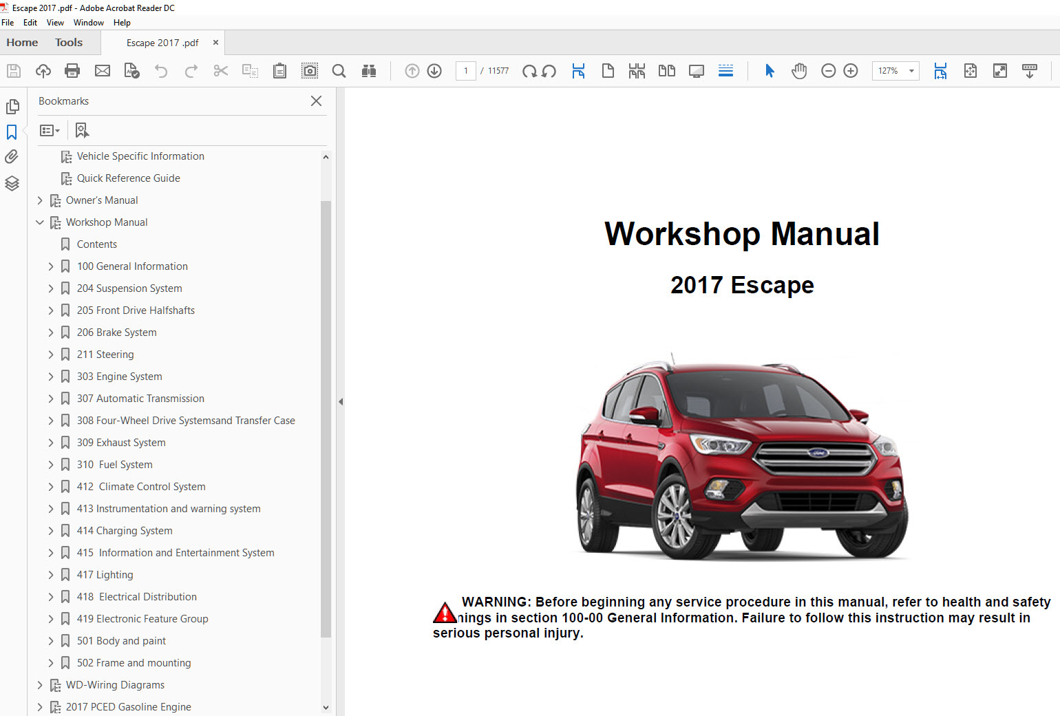 2017 Ford Escape Repair Manual
